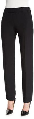Armani Collezioni Side-Zip Slim-Leg Cady Pants, Black $695 thestylecure.com
