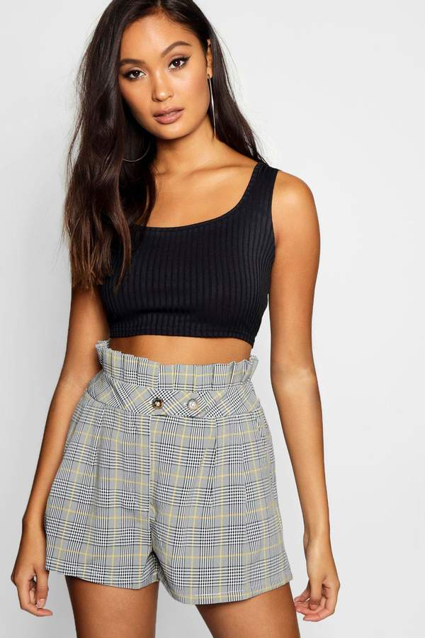 boohoo Prince of Wales Checked Paperbag Short