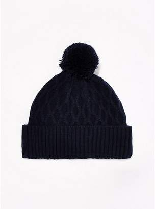 Topman Mens Navy Cable Bobble Beanie