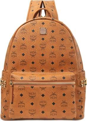 MCM Stark Side Studs Medium Backpack in Cognac Bonded Visetos