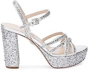 Miu Miu Women's Glitter Platform Heeled Sandals