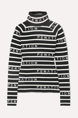 P.E Nation Woolmark Cutline Striped Intarsia Wool-blend Sweater - Black