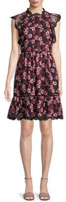 Kate Spade Floral Embroidered Dress W/ Scalloped Trim