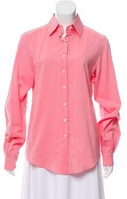 Oscar de la Renta Long Sleeve Button-Up Top