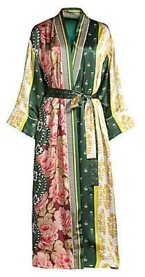 Oscar de la Renta Sleepwear Women's Spruce Floral Patchwork Silk Robe