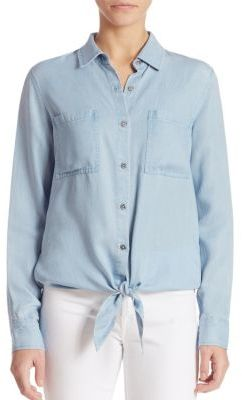 7 For All Mankind Tie-Front Denim Shirt $159 thestylecure.com
