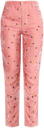 JUPE BY JACKIE Floral-embroidered slim-leg silk-velvet trousers