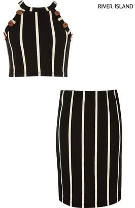 River Island Girls Black Stripe Skirt And T-Shirt Set - Black