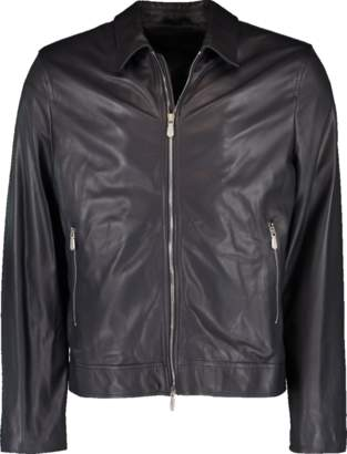 Eleventy Zip Front Leather Jacket