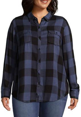 Boutique + B+ 3/4 Sleeve Buffalo Plaid Shirting - Plus