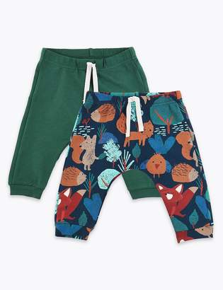 Marks and Spencer 2 Pack Organic Cotton Woodland Print Joggers