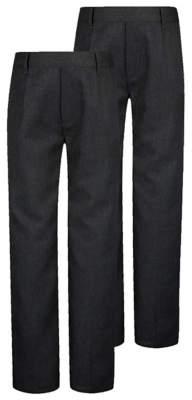George Boys Charcoal School Half Elasticated Waist Trousers 2 Pack