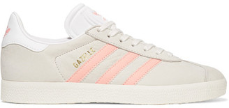 adidas Originals - Gazelle Leather-trimmed Nubuck Sneakers - Light gray $95 thestylecure.com