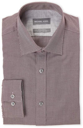 Michael Kors Bordeaux Red Regular Fit Non-Iron Mini Houndstooth Dress Shirt