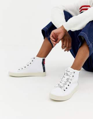 Tommy Jeans Leather Sneaker With Flag Heel Detail