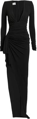 Alexandre Vauthier Stretch Jersey Plunge Neck Asymmetrical Gown