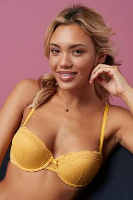 Next Womens Ochre Emily Spot Mesh Push-Up Balcony Bra - Yellow