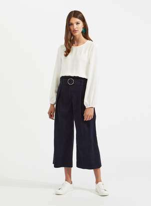 Miss Selfridge Navy Cord Cropped Wide Leg Trousers
