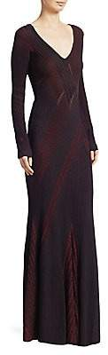 Roberto Cavalli Women's Ribbed Knit V-Neck Gown