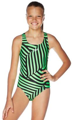 Speedo Girls School Colours Leaderback One Piece