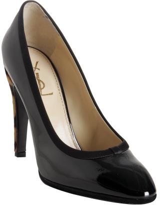 Yves Saint Laurent black patent leather 'Y Love' pumps