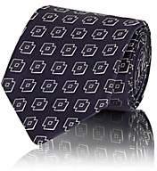 Isaia Men's Geometric-Print Silk Twill Necktie - Navy