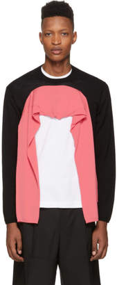 Comme des Garcons Black and Pink Wool Double Sleeve Sweater