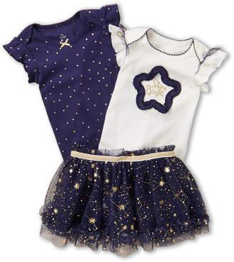 Baby Starters Newborn Girls) 3-Piece Star Short Sleeve Bodysuits & Skirt Set