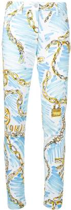 Moschino Chain print slim-fit trousers