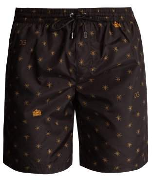 Dolce & Gabbana Star And Crown Print Swim Shorts - Mens - Black