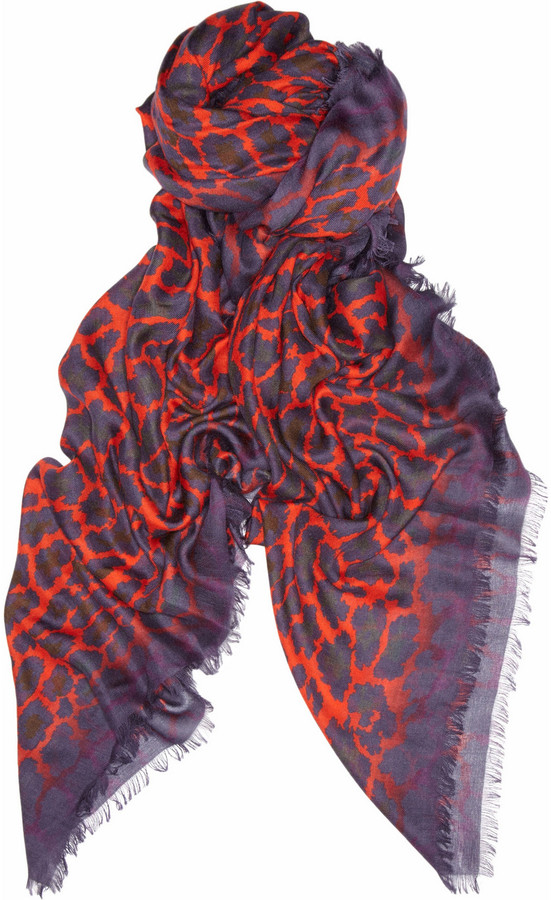 Christopher Kane Leo leopard-print modal and cashmere-blend scarf