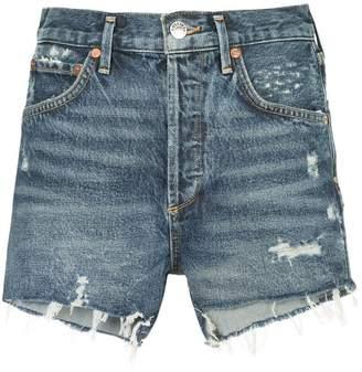 A Gold E Agolde Jaden distressed denim shorts