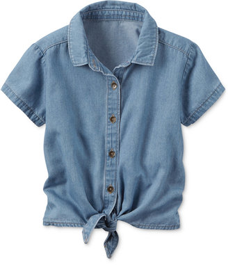 Carter's Chambray Tie-Front Shirt, Little Girls (2-6X) $22 thestylecure.com