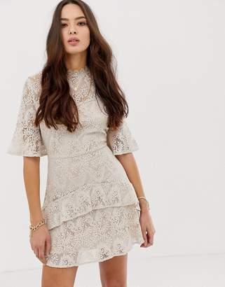 Moon River tiered lace mini dress