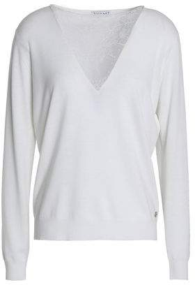 Vionnet Lace-Paneled Wool-Blend Top