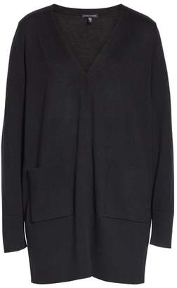 Eileen Fisher Snap Front Merino Wool Cardigan