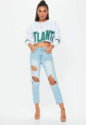 Missguided Light Blue Washed Denim Distressed Mom Jeans