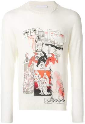 Prada comics-print knitted jumper