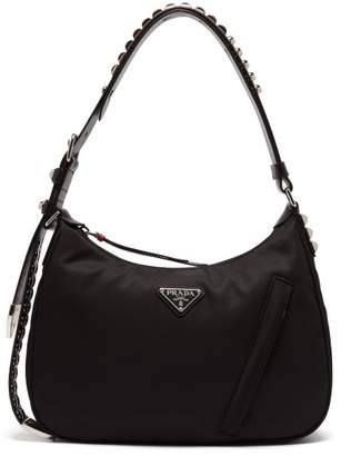 Prada New Vela Studded Nylon Shoulder Bag - Womens - Black Multi