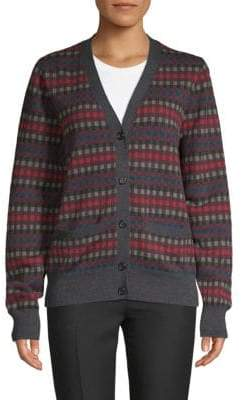 Marc Jacobs Checked Button-Front Wool Cardigan