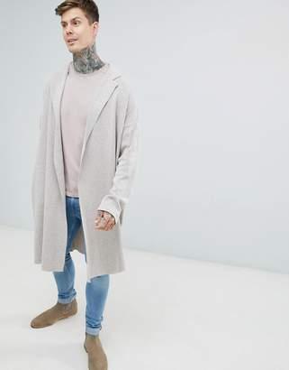 Asos Longline Knitted Duster Jacket in Oatmeal