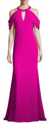 Badgley Mischka Draped-Shoulder Stretch Crepe Gown, Magenta $595 thestylecure.com