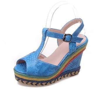 DoraTasia Women's Fashion Peep Toe T Strap Wedge High Heels Platform Summer Sandals Ankle Strap Heels Holiday Shoes