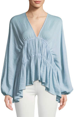 Line And Dot Gemma Long-Sleeve Peasant Blouse