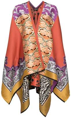 Etro jacquard knitted cape poncho