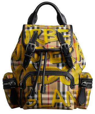 Burberry Small Graffiti Print Vintage Check Canvas Rucksack