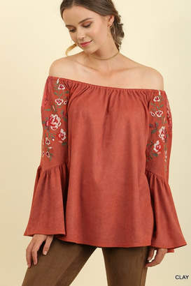 Umgee Suede Off Shoulder Bell Sleeve Top with Floral Embroidery and Lace Trim
