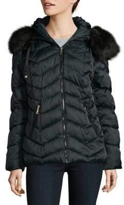 Tahari Faux Fur Trimmed Puffer Coat