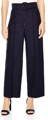 Sandro Aloes Belted Wide-Leg Pants