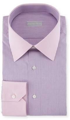 Stefano Ricci Thin Striped Dress Shirt with Contrast Cuffs/Collar